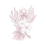 Sticker Deco Mural Fleurs Dessinées à la Main 04