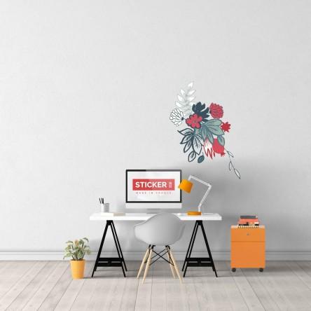 Sticker Deco Mural Fleurs Dessinées à la Main 05