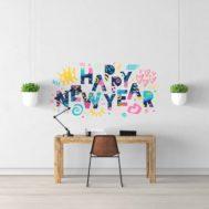 Sticker Deco Happy New Year Bonne Année