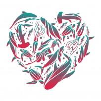 Sticker Deco Amour Poisson Mer Coeur
