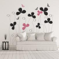 Sticker Papillons et Fleurs Mural