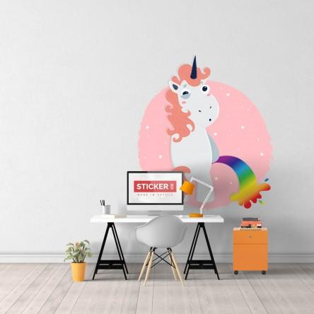 Sticker Licorne Mauvaise Pipi Mural