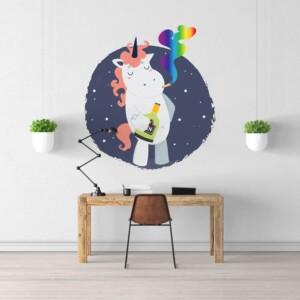 Sticker Mural Licorne Mauvaise Alcool