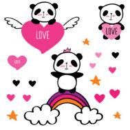 Sticker Deco Panda Love Chambre Enfant