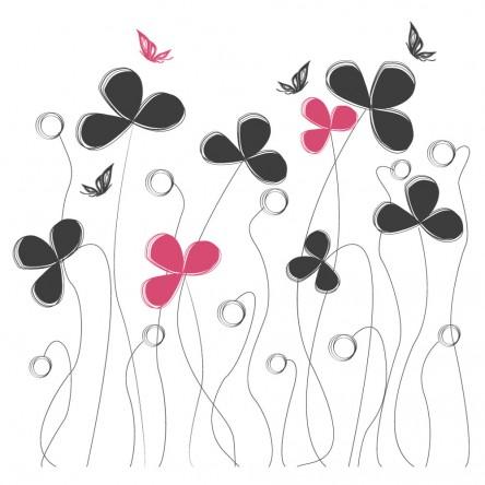 Sticker Fleurs et Papillons