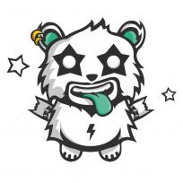 Sticker Panda Rock Monstre Mignon Téléphone