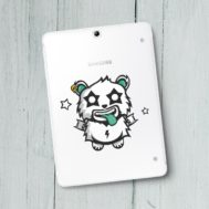 Sticker Deco Monstre Mignon Panda Rock
