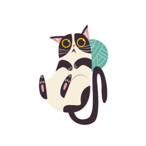 Sticker Mural Chat Pelote