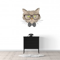 Sticker Mural Chat Lunettes