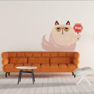 Sticker Mural Chat Panneau