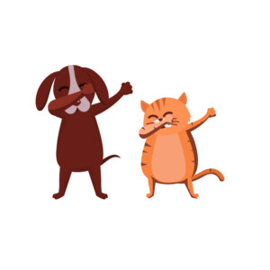 Sticker Mural Chien Chat Dab