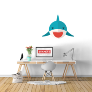 Sticker Mural Requin Bouche Rouge