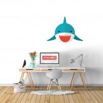 Sticker Mural Requin Bouche Rouge