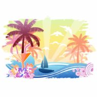 Sticker Mural Vacances Cocktails Plage