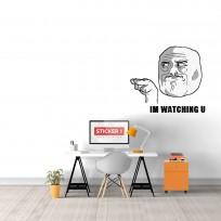Sticker Mural Troll Face Watching U