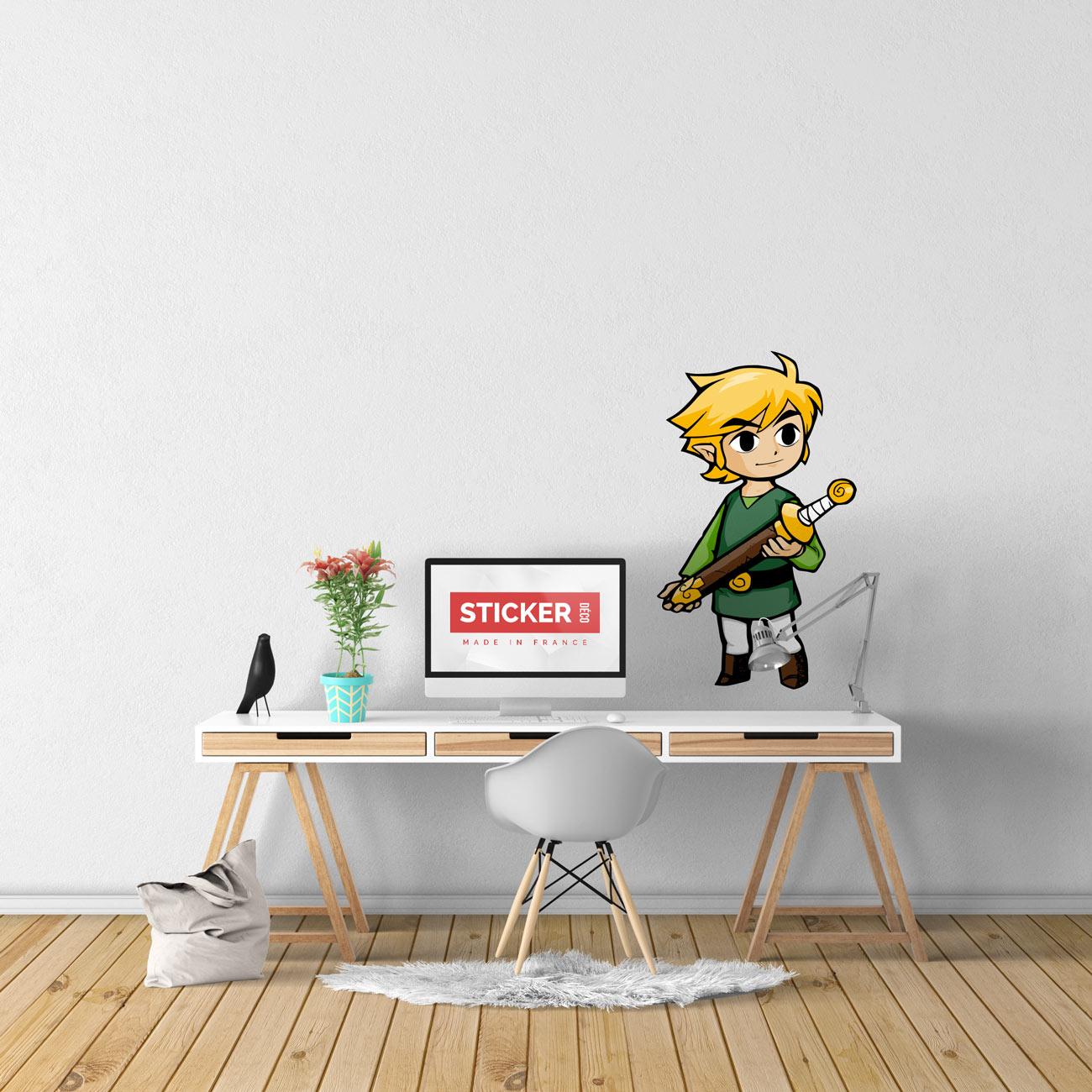 Sticker Mural Zelda Wind Waker Link - Sticker Deco