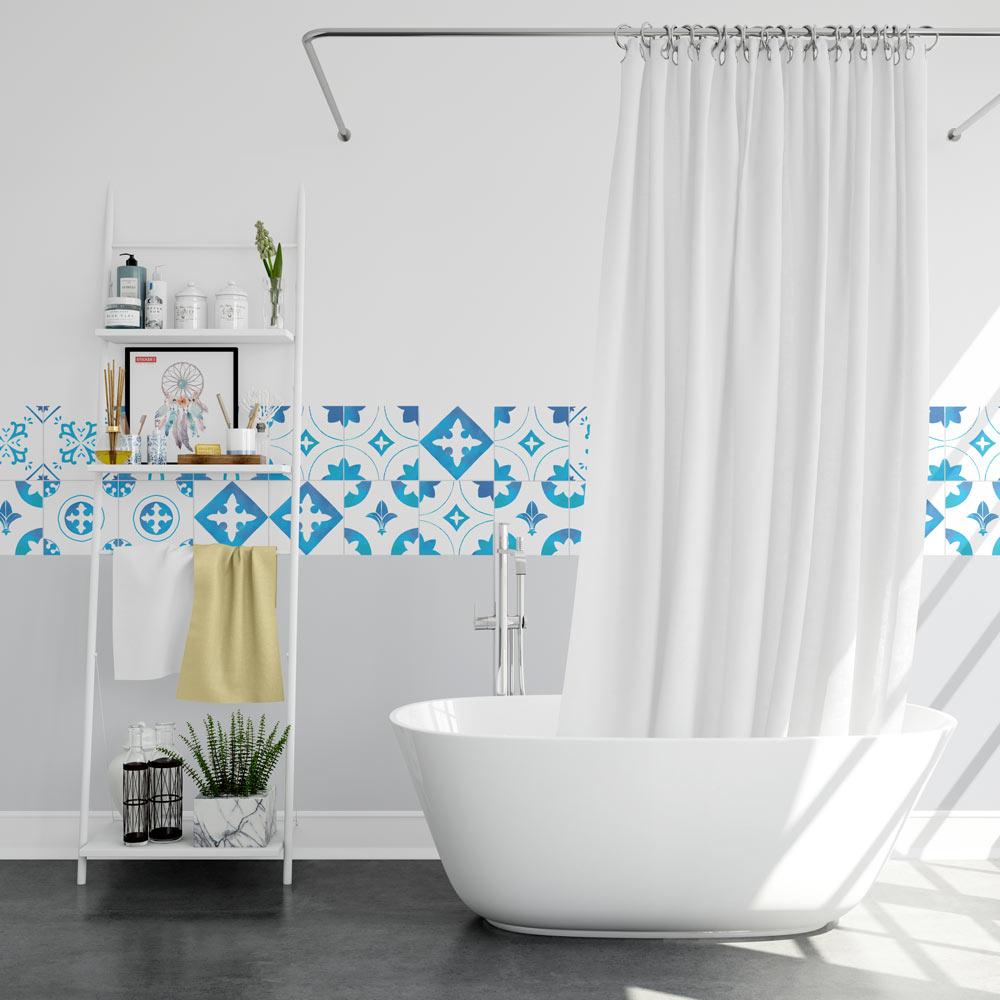 Carreau De Ciment Toilette stickers carreaux de ciment - bleu eau - sticker mural | stickerdeco.fr
