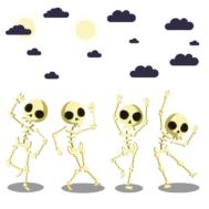 Sticker Squelette Danse Halloween