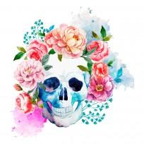 Sticker Tete de Mort & Fleur