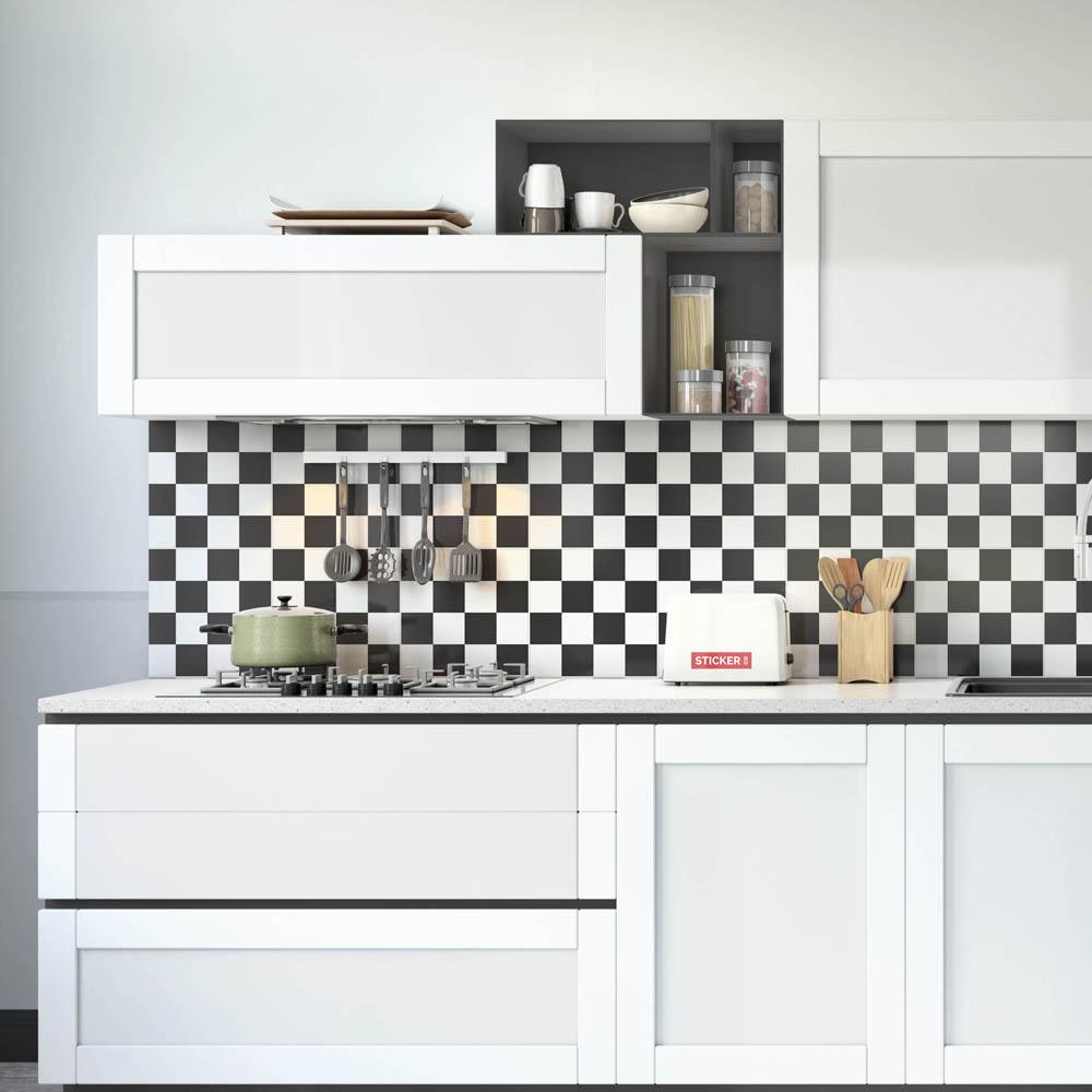 Carreaux Noir Et Blanc Cuisine sticker carrelage damier noir - sticker carreaux de ciment |stickerdeco.fr