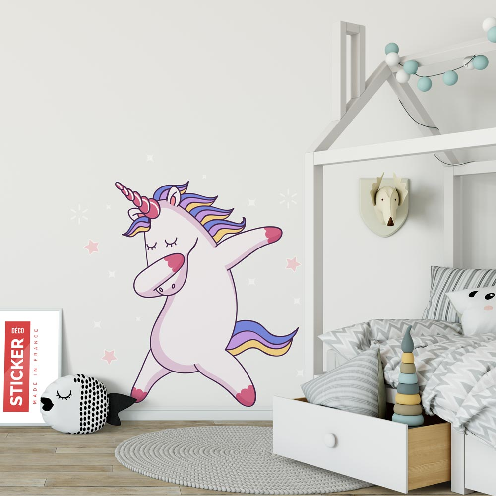 Sticker Licorne Dab - Stickers Chambre Enfant  Stickerdeco.fr