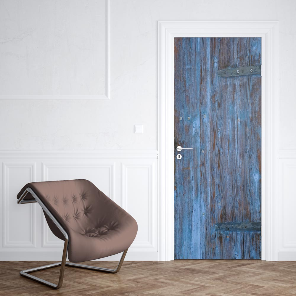 Sticker Porte Bois Bleu