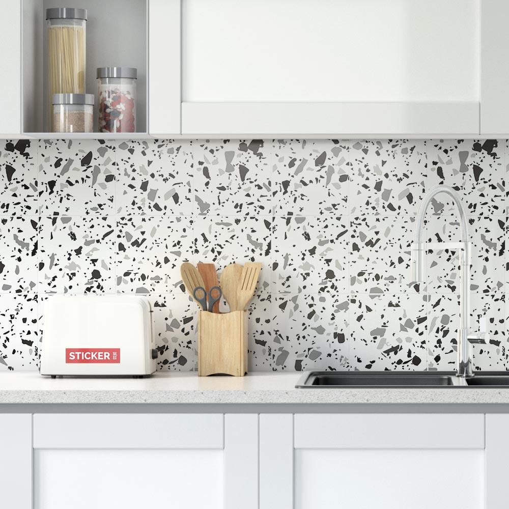 Adhesif Sur Carrelage Cuisine stickers carrelage terrazzo gris   adhésifs décoratifs   stickerdeco.fr