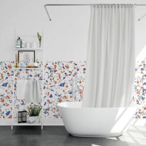 Stickers Carrelage Terrazzo Orange & Bleu