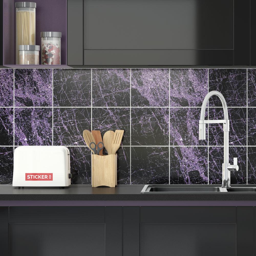 Adhesif Sur Carrelage Cuisine sticker carrelage marbre noir & violet - adhésifs carrelage   stickerdeco.fr