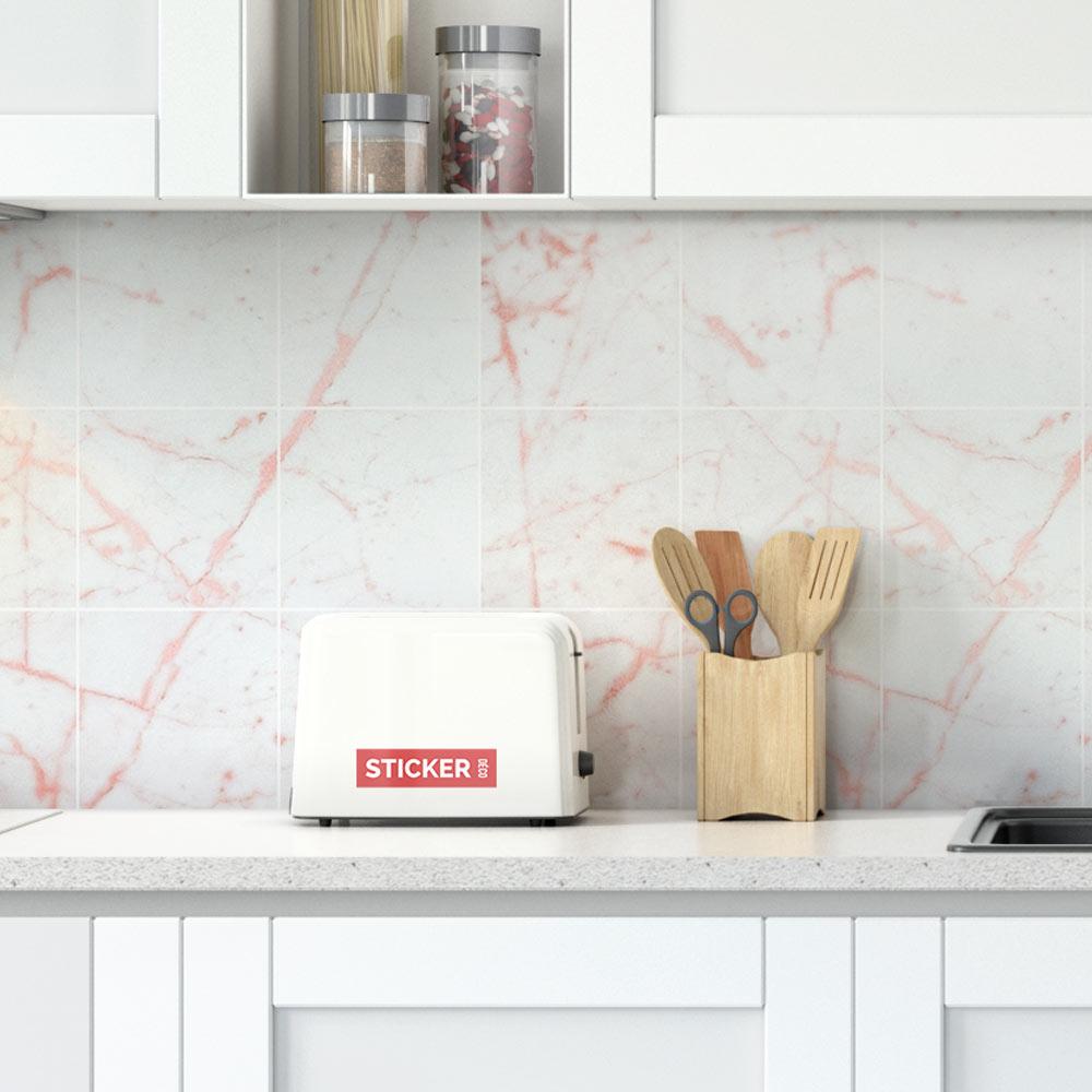 Faience Cuisine Beige Et Marron stickers carrelage marbre rose - stickers muraux | stickerdeco.fr
