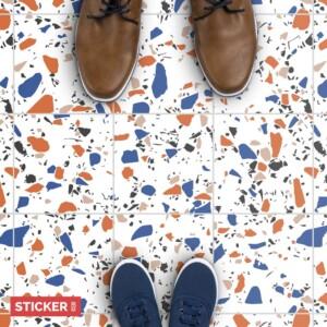 Stickers Sol Terrazzo Orange et Bleu