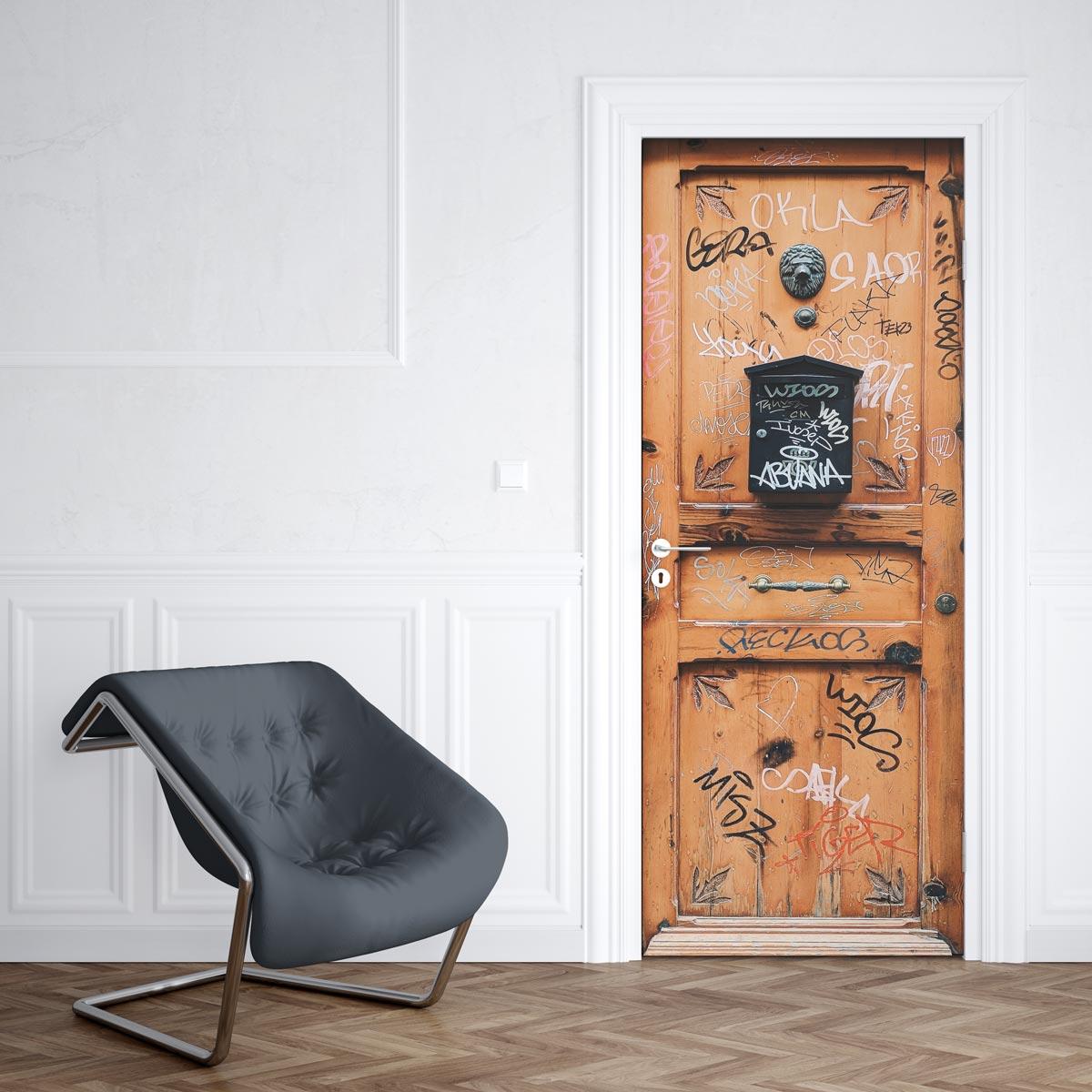 Deco Porte Salle De Bain bibliothèque autocollant trompe lœil pour porte salon salle