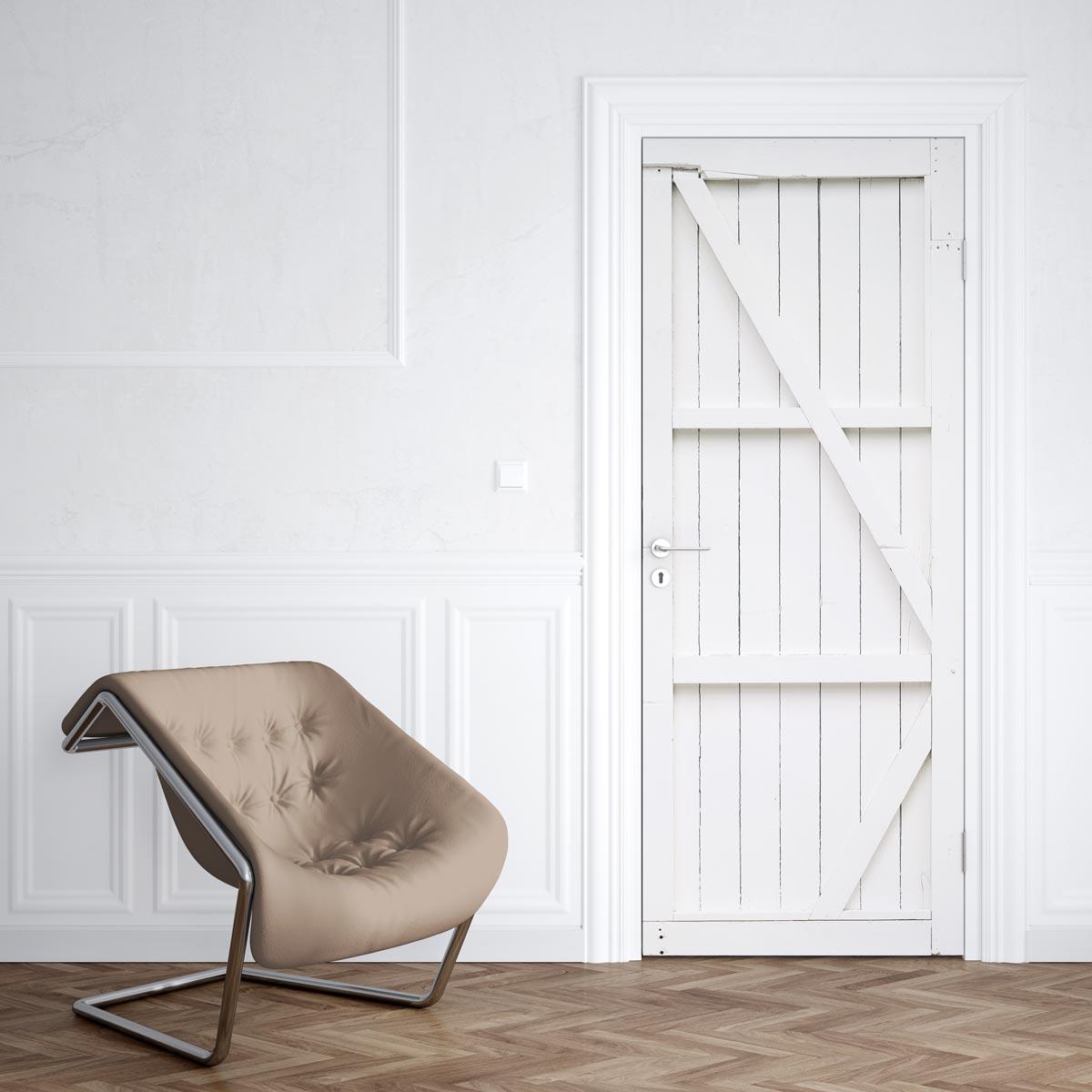 Tete De Lit Porte De Grange sticker porte grange blanche - sticker pour porte | stickerdeco.fr