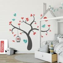 Sticker Arbre Coeurs et Papillons