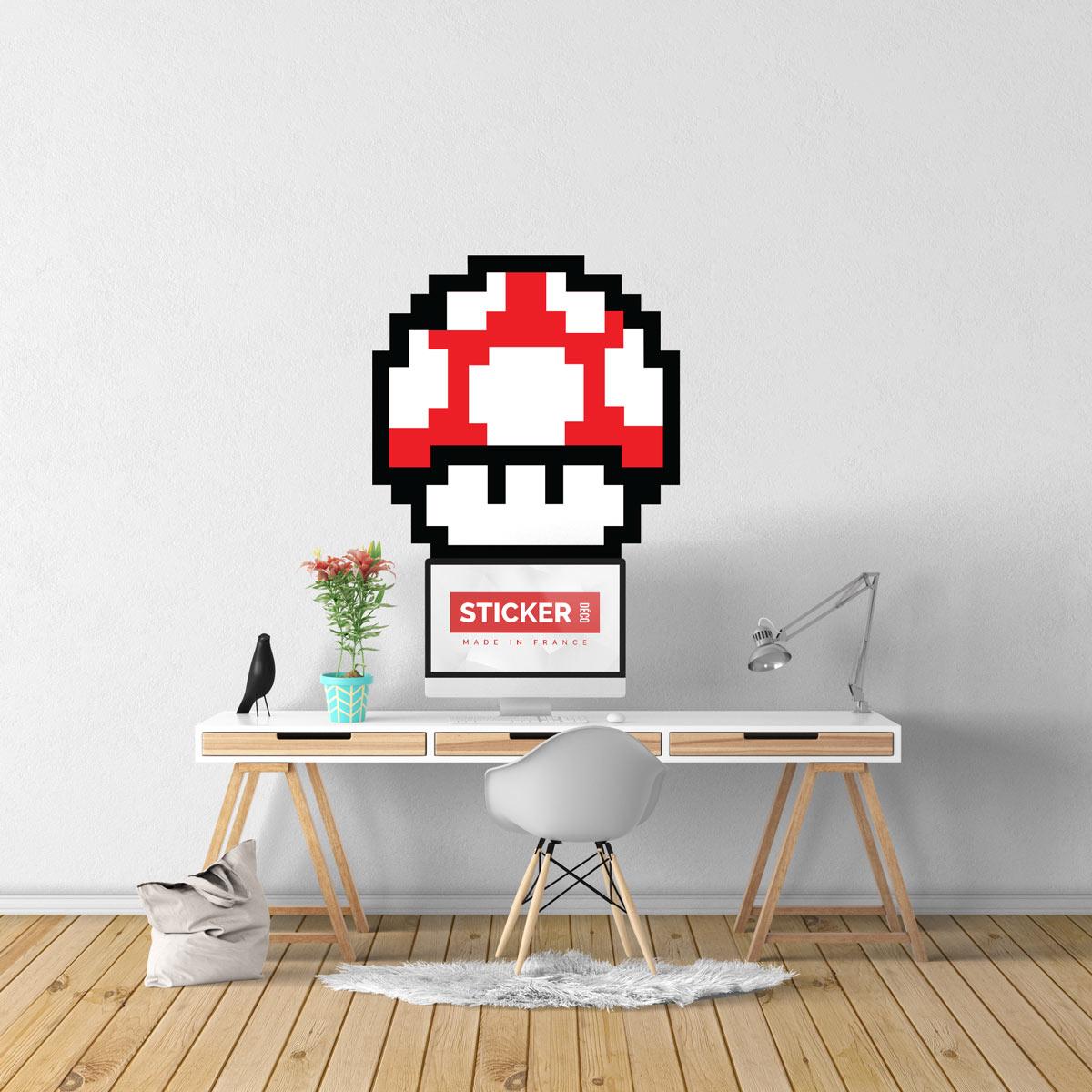 Sticker Pixel Art Champignon Rouge
