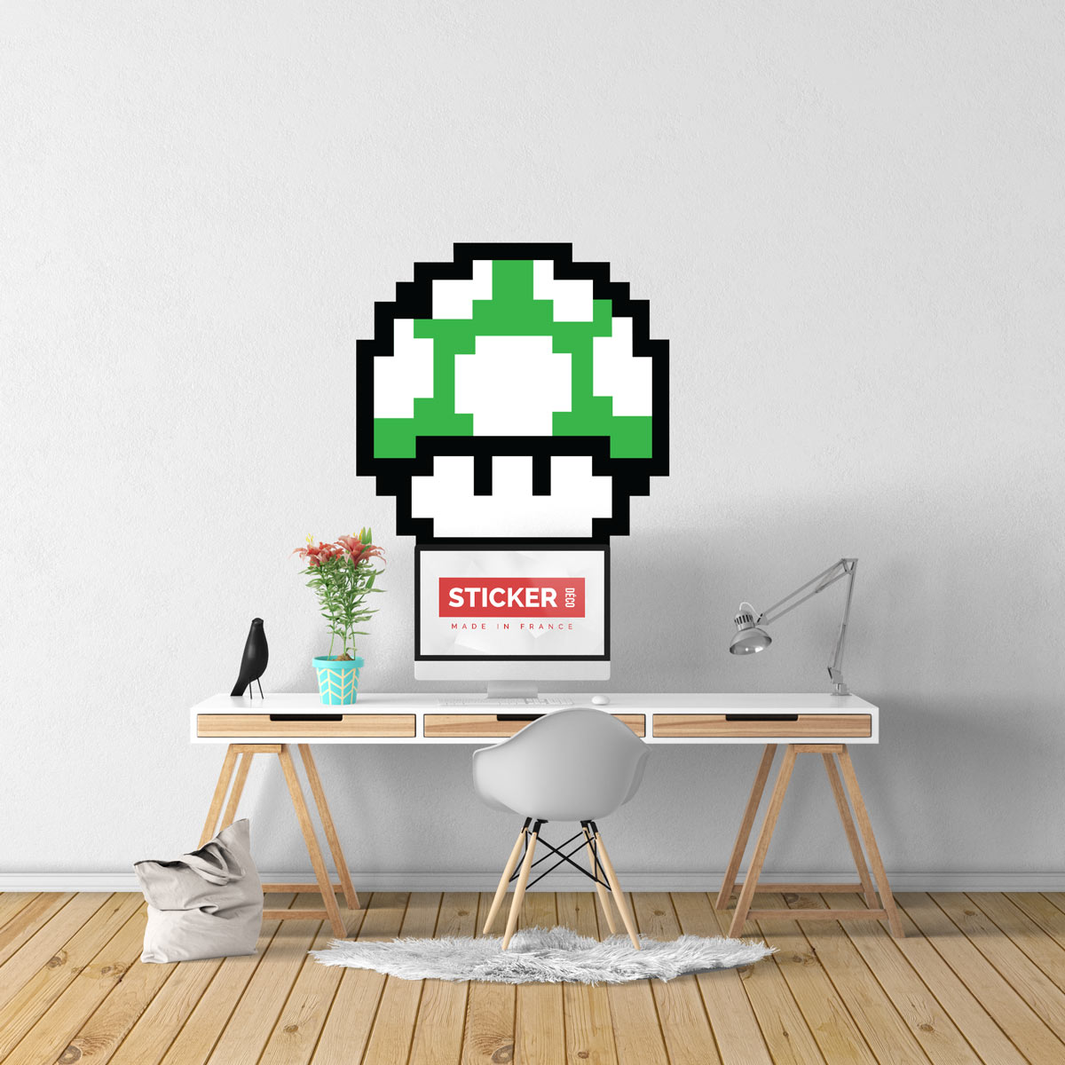 Sticker Pixel Art Champignon Vert