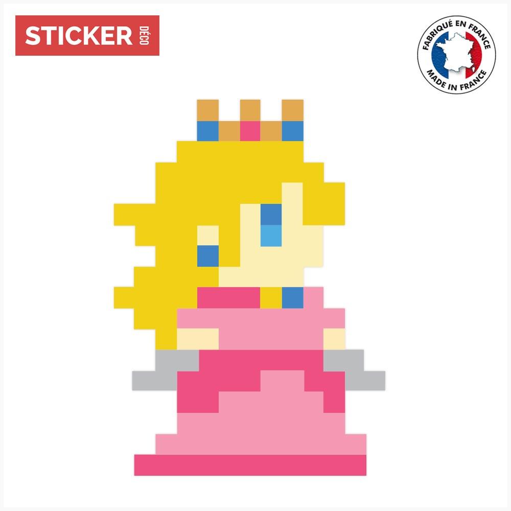 Sticker Pixel Art Peach Autocollants Pixel Art Mario Stickerdecofr