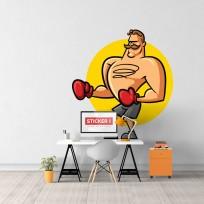 Sticker Boxeur Cartoon