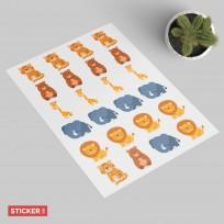 Sticker Animaux Savane Kawaii