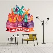 Sticker Amsterdam Coloré