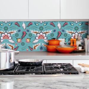 sticker crédence fleurs style batik