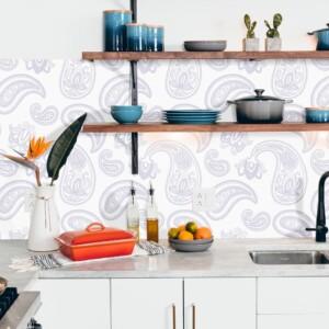 Sticker crédence motif floral gris