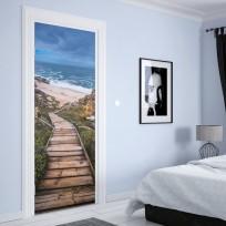 sticker porte escalier qui descend vers la plage