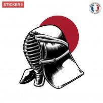 Sticker-Casque-guerrier-Japonais