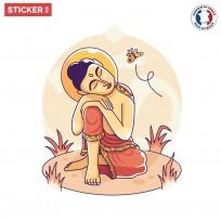 Sticker-zen-bouddha-jaune