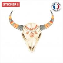 sticker-crâne-taureau-colors