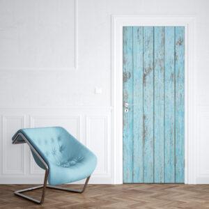 sticker porte bois bleu vieilli