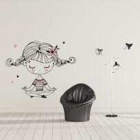 sticker yoga doodle petite fille