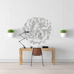 Sticker dinosaure doodle