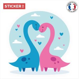 Sticker dinosaures amoureux